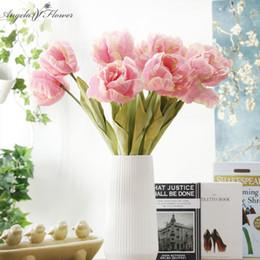 Parrot disPlay online shopping - Europen elegant artificioal parrot tulip flower silk flower home wedding Christmas furnishing table decor tulip flores