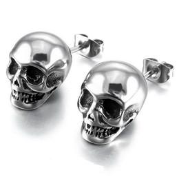 d733937c9a5b Pendientes del cráneo punky para los hombres Niños Joyería de plata fresca  Pendientes del perno prisionero del hip-hop Pendientes esqueléticos de la  roca de ...