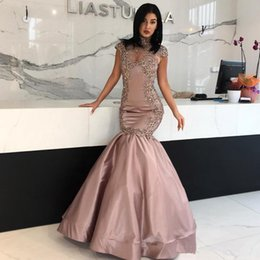 ziad nakad lace applique evening 2019 - Ziad Nakad Cap Sleeveless Evening Dresses 2018 High Neck Long Prom Sexy Party Gowns Beaded Prom Party Gowns vestido de f