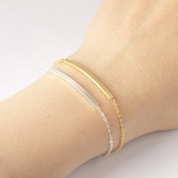 bridesmaid gifts silver bracelets NZ - Rose Gold Color Hand Chain Thin Curved Bar Bracelets For Women Friendship Bff Jewelry Stainless Steel Bridesmaid Birthday Gifts