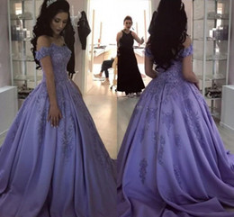 Wholesale 2018 Lavender Ball Gown Quinceanera Dresses Sweetheart Off The Shoulder Appliques Satin Sweet Dresses Prom Dresses Sweep Train