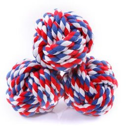 Puppies Playing Toys UK - 1Pc Pet Puppy Pet Dogs Knots Strengthen Teeth Rope Cottons Chews Toy Ball Play For Fun
