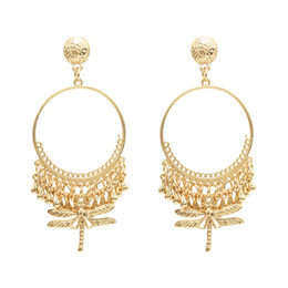 Ethnic fringEs jEwElry online shopping - idealway Fashion Ethnic Fringe Round Metal Dragonfly Pendant Drop Dangle Earrings Jewelry Gift