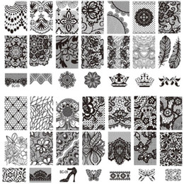 10Pcs Lot New Lace Flowers Crown Nail Art Stamp Stamping Image Plate 612 CM Stainless Steel Template Stencil Tools
