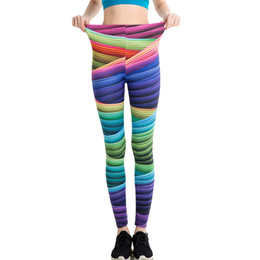 $enCountryForm.capitalKeyWord NZ - RealLion Rainbow Pants Full Length Yoga Leggings Colorful Stripe Printing Fitness Clothing Sport Trousers Running Tights Women