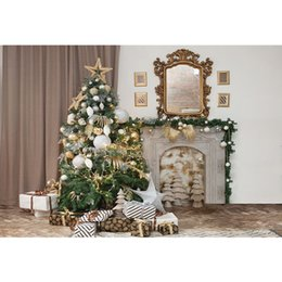 $enCountryForm.capitalKeyWord NZ - Home Xmas Party Photo Background Printed Curtain Mirror Presents Gold Silver Balls Decorated Christmas Tree Baby Kids Backdrop