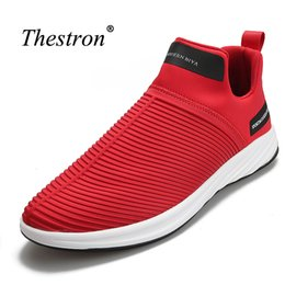 spring tracking UK - Man Running Shoes Black Red Slip-on Sneakers for Male Rubber Bottom Brand Sport Footwear Men Spring Summer Light Track Shoes