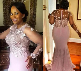 Chinese  Pink Appliques Beaded Mother Of The Bride Dresses Long Sleeves Mermaid Wedding Guest Dress Cheap Plus Size Formal Evening Dresses manufacturers