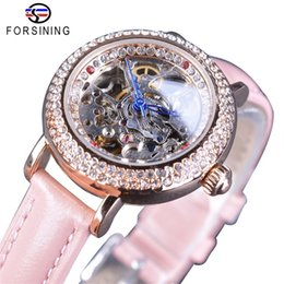 Leather watch design for girLs online shopping - Forsining Lady Pink Watches Diamond Bling Design Fashion Skeleton Pink Bands Leather Dress Automatic Wristwatches For Women Girls Gift