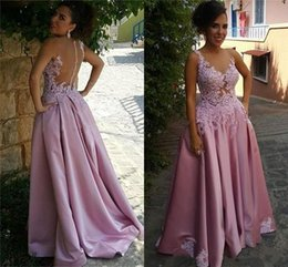 Discount simple occasion dresses - Simple Satin A Line Prom Dresses with Button Back Arabic Applique Lace Evening Gowns Cheap Long Formal Special Occasion