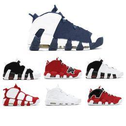 2018 mais novo lançamento de ar mais uptempo SUPTEMPO mid ouro preto para homens botas de basquete Scottie Pippen sapatos de alta qualidade sneaker40-46