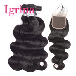 $enCountryForm.capitalKeyWord Australia - Igrina Tight Malaysian Virgin Hair Body Wave 3 Bundles With 4x4 Lace Closure Good Cheap Weave Remy Wet And Wavy Human Hair Extensions