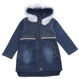 $enCountryForm.capitalKeyWord UK - Girls Jackets Denim Long Jacket Girl With Fur Hooded Children Outerwear Winter Children'S Costumes For Girls 6 8 10 12 13 Year