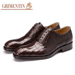 1b4e15024ea8cf GRIMENTIN Vente chaude à la main personnalisé robe de ville chaussures en  cuir véritable crocodile grain marque de mode hommes chaussures haute  qualité ...