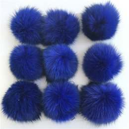 $enCountryForm.capitalKeyWord Canada - Royal Blue-10cm-12pcs Real Genuine Fox Fur Ball PomPom Phone Car DIY for Keychain Pendant Handbag Charm