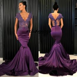 $enCountryForm.capitalKeyWord NZ - Purple Beaded Mermaid Lace Evening Dresses V Neck See Through Back Prom Gowns Vestidos De Fiesta Sweep Train Satin Plus Size Formal Dress