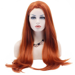 Chinese  Orange Lace Front Wigs Heat Resistant Fiber Synthetic Long Natural Straight Natural Hairline Synthetic Hair Orange Wig For White Women manufacturers