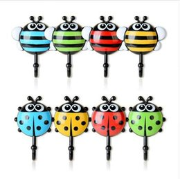 Wholesale 2Pcs set Robe Hooks Multi function Cartoon Insects Sucker Hook Creative Household Plastic Non trace Towel Hook