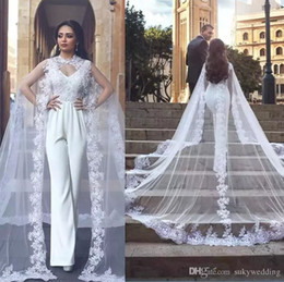 aed4cca8bee7 2019 White Jumpsuits Wedding Dresses With Long Lace Wrap V Neck Backless  Bridal Gowns Lace Appliqued Wedding Dress Custom Made