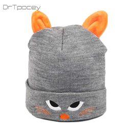 2e6fcc593df8d Autumn boy and girl knit hat winter baby warm hats cartoon cat embroidery  cap children hat cap beanies kids Christmas gift caps