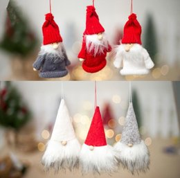 Discount wine christmas ornament - 6styles Christmas doll pendants hats clothes pattern wine bottle decoration caps home party christmas tree ornaments dec