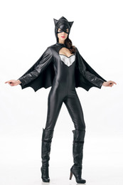 Wholesale Free shipment New European and American Halloween Marvel Cartoon Game Uniform Black Leather Batman Cosplay Costume Adult