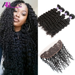 Cheap weave frontal online shopping - Cheap A Brazilian Hair Deep Wave With Lace Frontal Closure Hair Bundles With x4 Ear to Ear Lace Frontal Closure Weaves