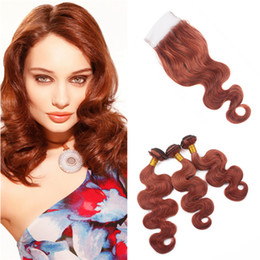 dark auburn red hair color NZ - Dark Auburn Human Hair Weaves with Lace Closure Color 33 Copper Red Body Wave Indian Hair 3 Bundles and Top Closure