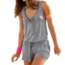 453a8f3db4 2018 Summer Women Playsuits Beach Rompers Jumpsuits Shorts Femme Solid  Sleeveless Pockets Casual Playsuit Overalls NEW XXL GV921