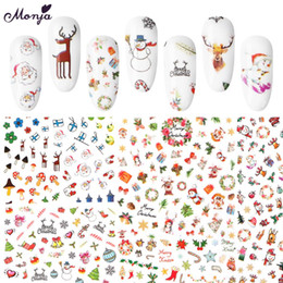 nail art series NZ - Monja 10 Types Adhesive Nail Stickers Christmas Series Design Foil Decals Manicure Nail Art Decoration