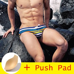 $enCountryForm.capitalKeyWord NZ - 2018All Hot Swimwear Men Brief With Push Pad Sexy Swimsuit Men Waterproof Swimming Trunks For Bathing Shorts Avoid Embarrassment