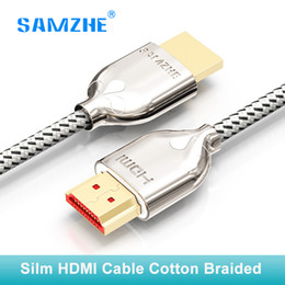 Discount hdmi cable for ps4 - SAMZHE Cotton braided soft silm HDMI cable 4k*2k 60hz hdmi to 2.0 3D 1M 1.5M 2M 3M for PS4 xbox Projector HD TV box Lapt