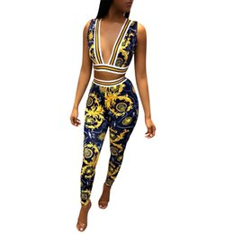 ladies tracksuits 2019 - 2018 Summer Print Sleeveless Women Set V-Neck Crop top+Flare Pants Lady fashion sexy Two pieces suits casual tracksuit D