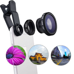 Wholesale 3 in Fish eye Lens Mobile Phone Lenses with Clip Fish Eye Wide Angle Macro Camera Lens for iPhone Samsung Xiaomi Huawei