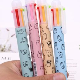 $enCountryForm.capitalKeyWord Australia - 4 Pcs Cute 6 Colors Ballpoint Pen Kawai Cartoon Cat Ball Point Pens For Writing Kids Gift Stationery Office School Supplies