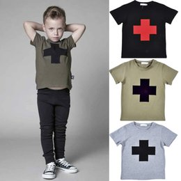 toddler boys tees 2019 - Baby Boy Summer T Shirt Kids Short Sleeve Cotton Cross Printing T-shirt Tops Toddler Boys Summer Clothes Top tee 3 Color