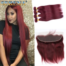 Wholesale Brazilian Burgundy Hair With Lace Frontal Closure x4 Red Silk Straight J Wine Red Human Hair Bundles With Ear to Ear Full Frontals