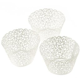 Cut Lace Cupcake Australia - 100 Pcs Filigree Little Vine Lace Laser Cut Cupcake Wrapper Liner Baking Cup White cupcake paper copos do bolo #616