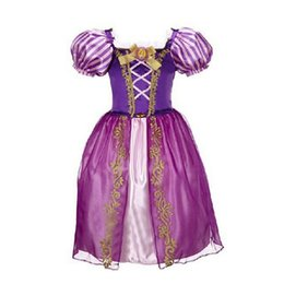 Chinese  cute dress girl purple Cotton Rapunzel princess aurora flare sleeve dress vintage flower dress free shipping manufacturers