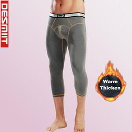 $enCountryForm.capitalKeyWord NZ - Thicken Warm Winter 3 4 Leggings Running Tights Men Gym Home Sport Fitness Training Compression Pants 2 In 1 wintersport Leggins