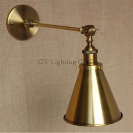 Skirt wall online shopping - AC v v L30cm Long arm American industrial style single arm adjusted wall light E27 Brass Copper finished Metal Skirt shade sconce lamp