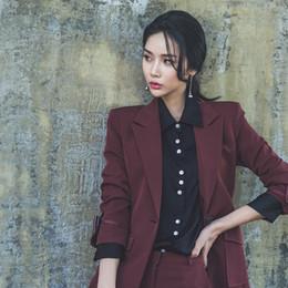 $enCountryForm.capitalKeyWord Australia - Custom fashion new women's women's single buckle wine red casual suit two-piece (jacket + pants) women's business formal suit