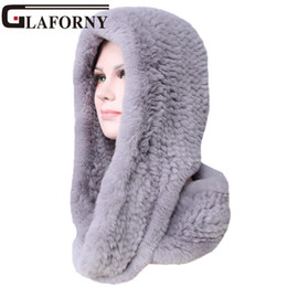Rabbit Fur Scarves Caps NZ - Glaforny 2018 Knitted Real Rex Rabbit Fur Hat Ear Muff Earwarmer Scarf Cap Soft and Fashionable 2 Use 25 Colors D18110102