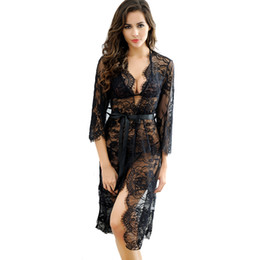 b45bf12fa5 Transparent Lace Kimono Sexy Nighty Dress Intimate Sleepwear Robe Night  Gown Woman Baby Doll Sexy Lingerie Pajamas Nightgown D18110801