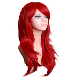 China QQXCAIW Long Wavy Cosplay Wig Red Green Puprle Pink Black Blue Sliver Gray Blonde Brown 70 Cm Synthetic Hair Wigs cheap blue pink blonde wig suppliers