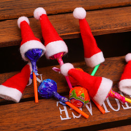 Discount cartoon lollipops - Mini Christmas Santa Claus Hat Lollipop Hat Wedding Candy Gift Caps Christmas Tree Decor Christmas Decorations Festival