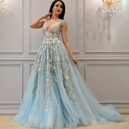 lavender fluffy prom dresses 2019 - Blue Sky Fluffy A-Line Prom Dress Sexy Deep V-Neck Floral Applique Sleeveless Party Gowns Fashion Saudi Arabia Sweep Tra