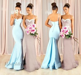 Custom robes for bridesmaids online shopping - Mermaid Bridesmaid Dresses for Wedding Guest Trumpet Spaghetti Straps Light Brown Blue Elegant Maid of Honor Dresses robes de demoiselle