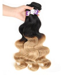 Discount honey hair color - Colored Peruvian Virgin Hair Body Wave 3 Bundles Ombre Honey Blonde Hair Weaves Wefts 1B 27 Ombre Human Hair Extensions