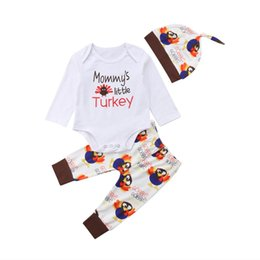 9090ca14743b Newborn Toddler Baby Girls Boys Long Sleeve Romper Tops Turkey Pants Hat  Thanksgiving Outfits Set